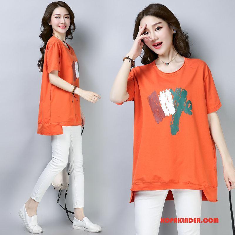 Dam T-shirts Billig Eleganta 2018 Vår Söt Slim Fit Orange
