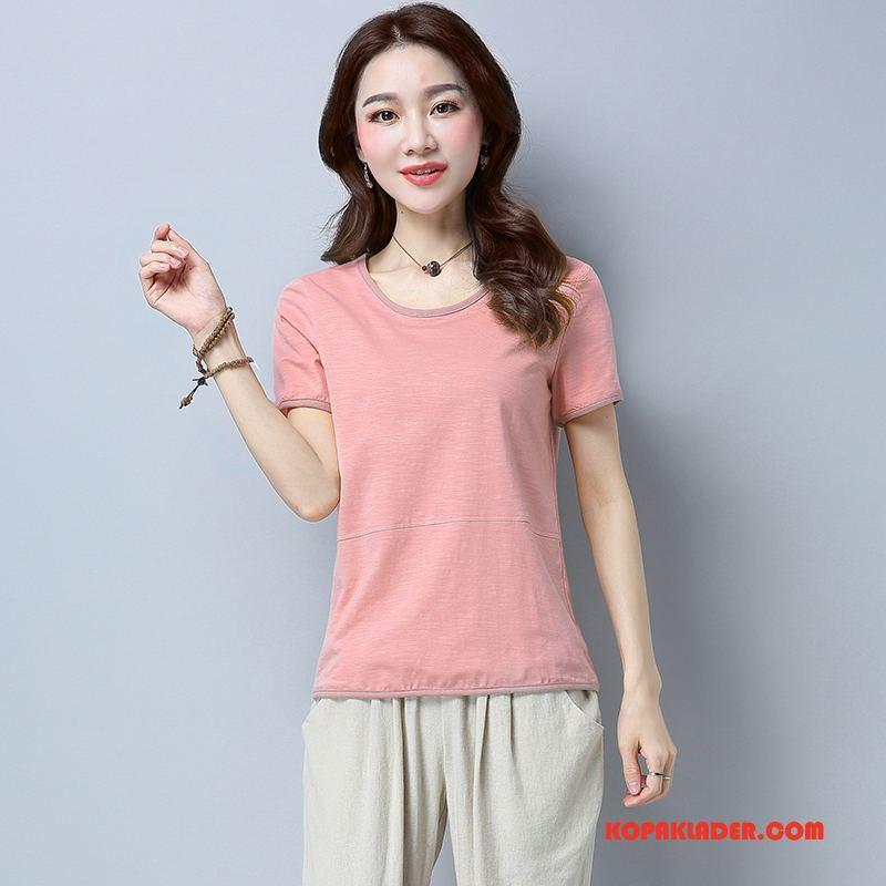 Dam T-shirts Butik Slim Fit Sommar Läder Tunn Elegant Till Rosa