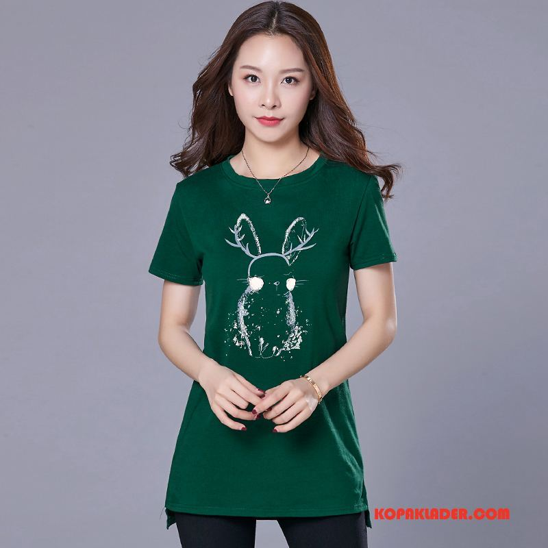 Dam T-shirts Köpa Trend 2018 Rund Hals Elegant Sommar Grön