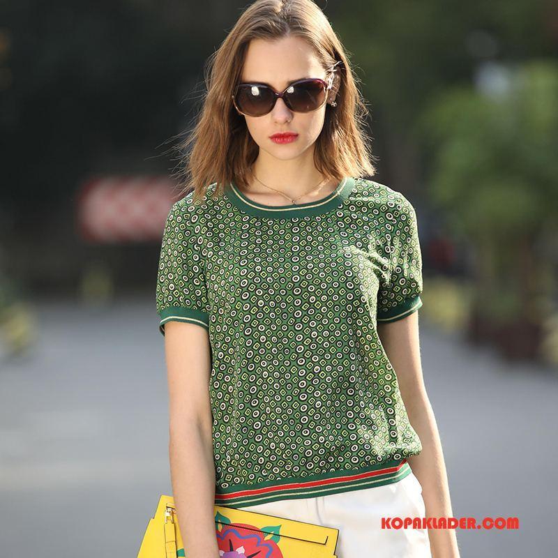 Dam T-shirts Rea Elegant Konst 2018 Mode Casual Grön