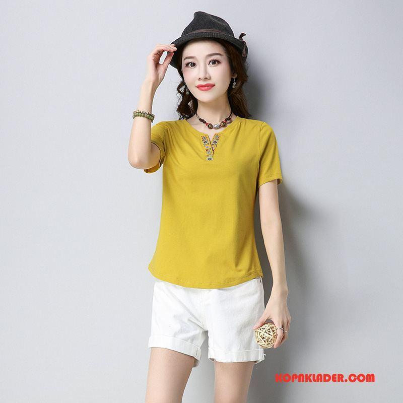 Dam T-shirts Till Salu 2018 Tunn Sommar Elegant Trend Gul