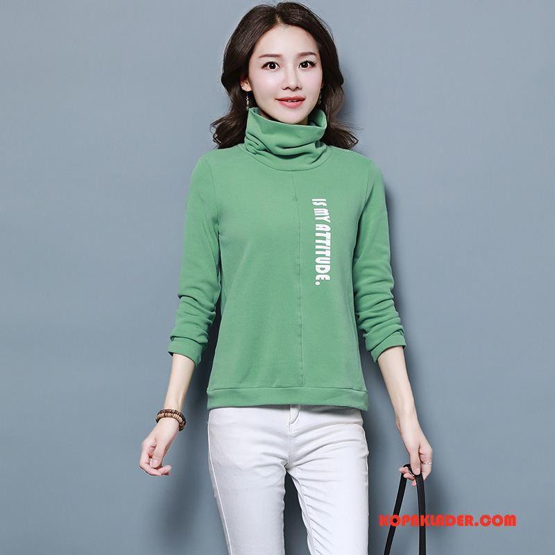 Dam T-shirts Till Salu Mode Elegant Långärmad 2018 Vinter Grön