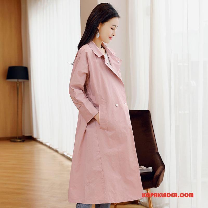Dam Trenchcoat Köpa Vår 2018 Slim Fit Casual Mode Rosa Röd Till