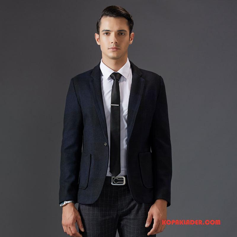 Herr Överrock Billig Kostym Ull Mode Blå Svart