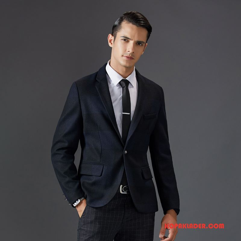 Herr Överrock Billiga Ull Kostym Mode Blå Svart