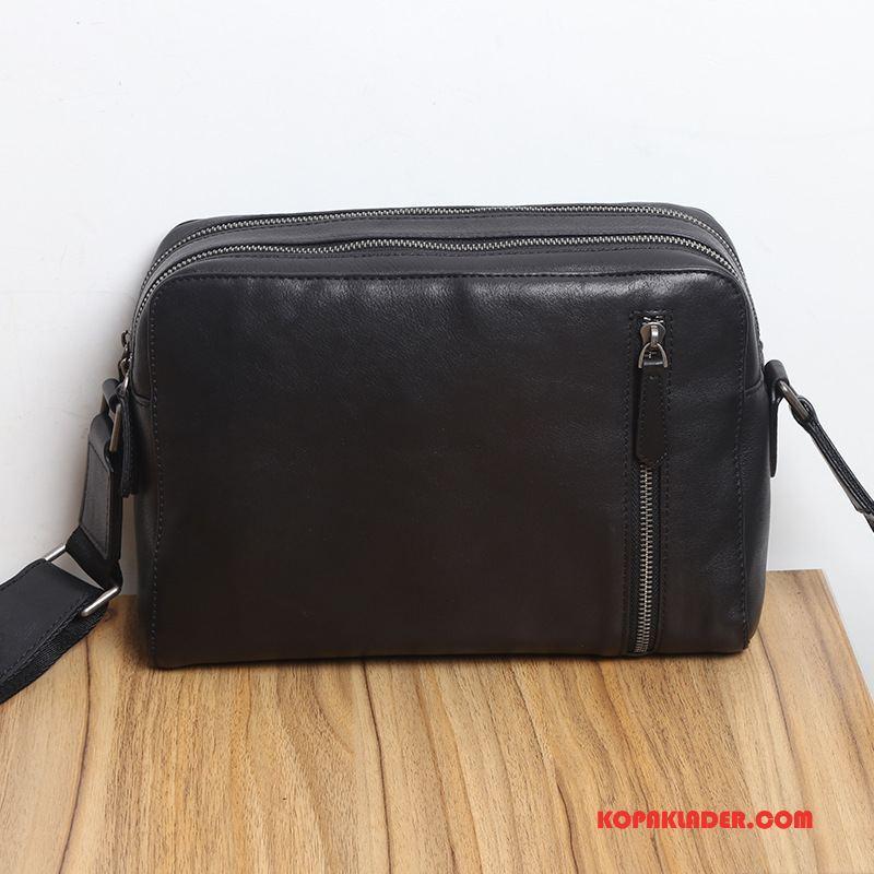 Herr Axelremsväskor Billig Messenger Väska Stor Kapacitet Läder Mjukt Läder Axelremsväska Svart