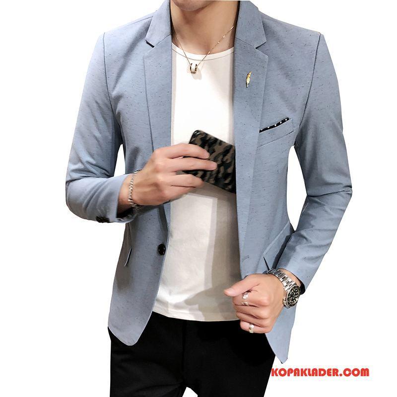 Herr Blazer Köpa Slim Fit Kostym Höst Män Trend Ljusblå