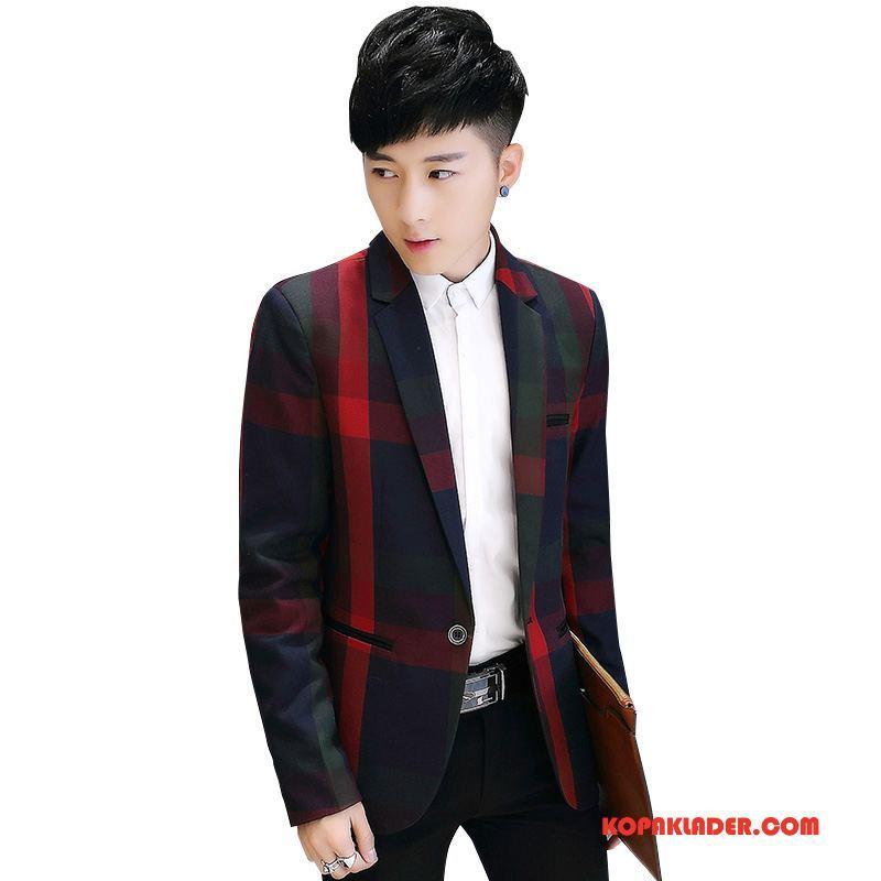 Herr Blazer På Nätet Mode Ungdom British Slim Fit Höst Röd