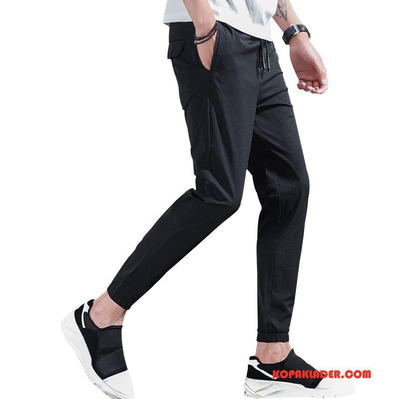 Herr Byxor På Nätet Sommar Bekväm Ny Stretch Mode Svart