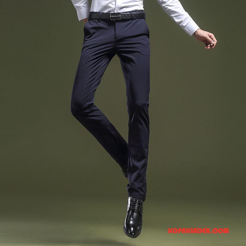 Herr Byxor Rea Liten Slim Fit Business Stretch Lång Blå