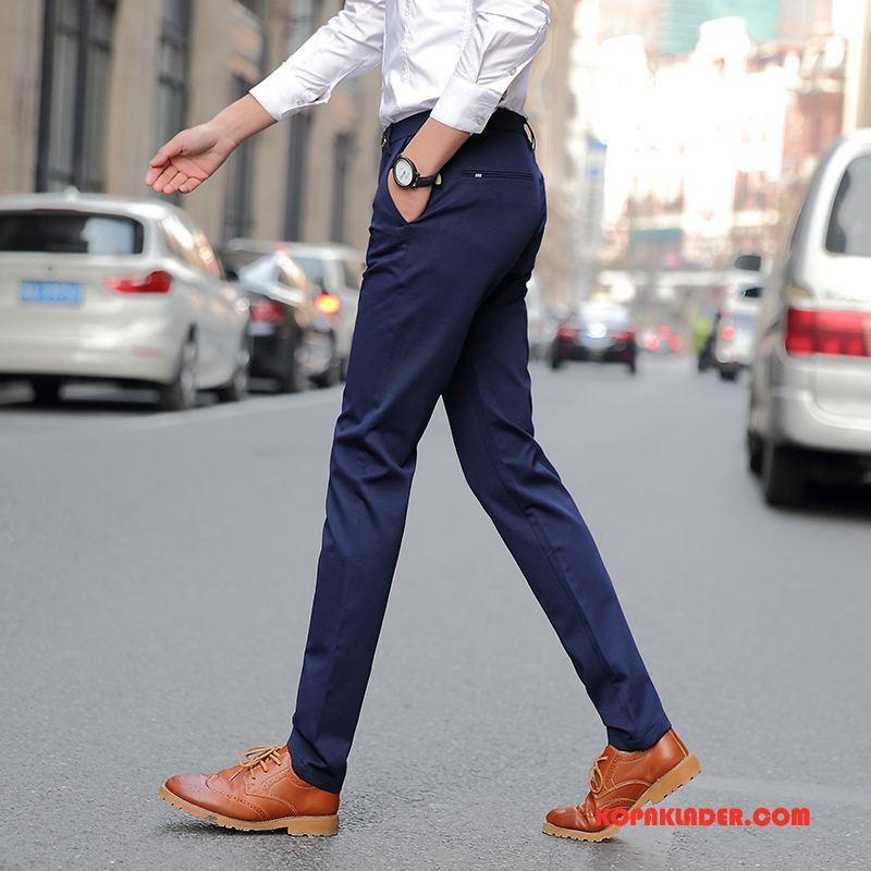 Herr Byxor Rea Trend Män Casual Byxor Cigarettbyxor Stretch Kungsblå