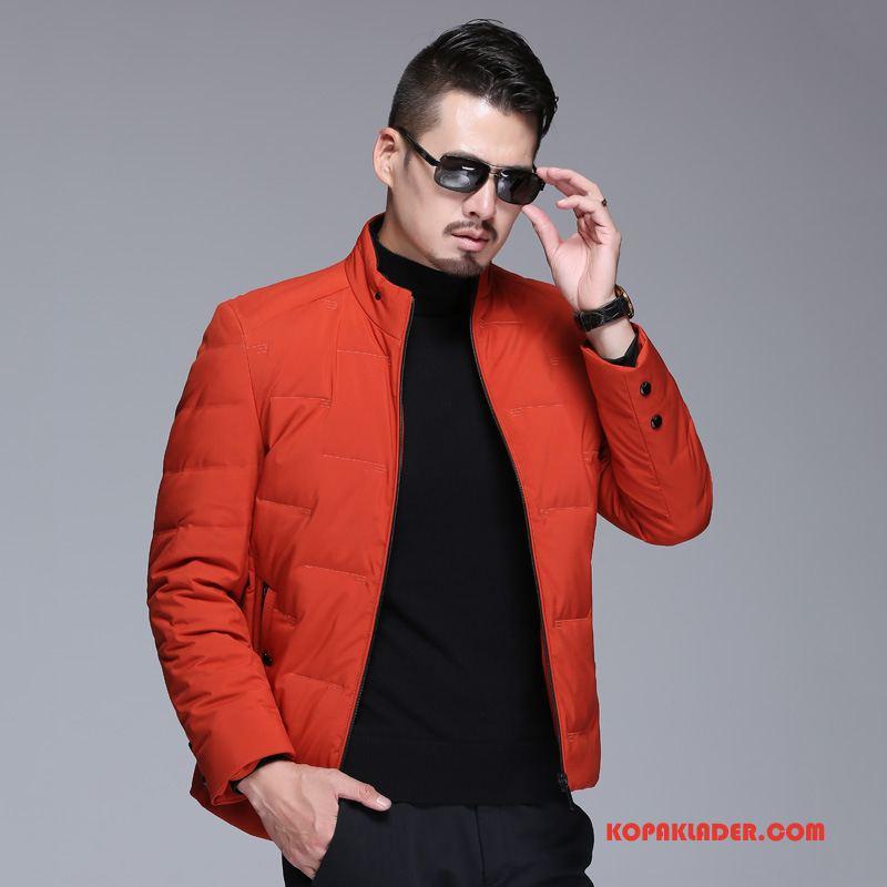 Herr Dunjackor Online Kappor Rockar Bomullskläder Hög Krage Medelåldern Män Orange Röd