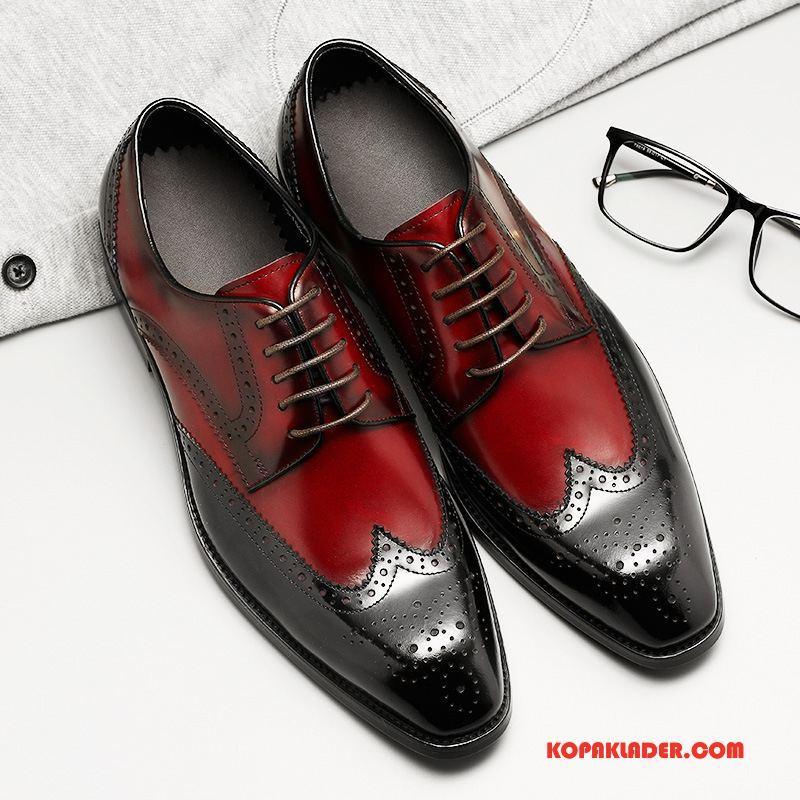 Herr Finskor Köpa Män Business Bra Försäljning Mode Äkta Läder Vinröd