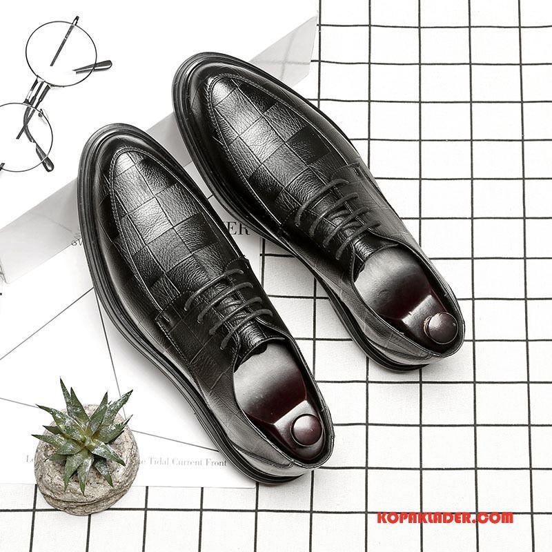 Herr Finskor Rea Allt Matchar Trend Spetsiga Business Läderskor Svart