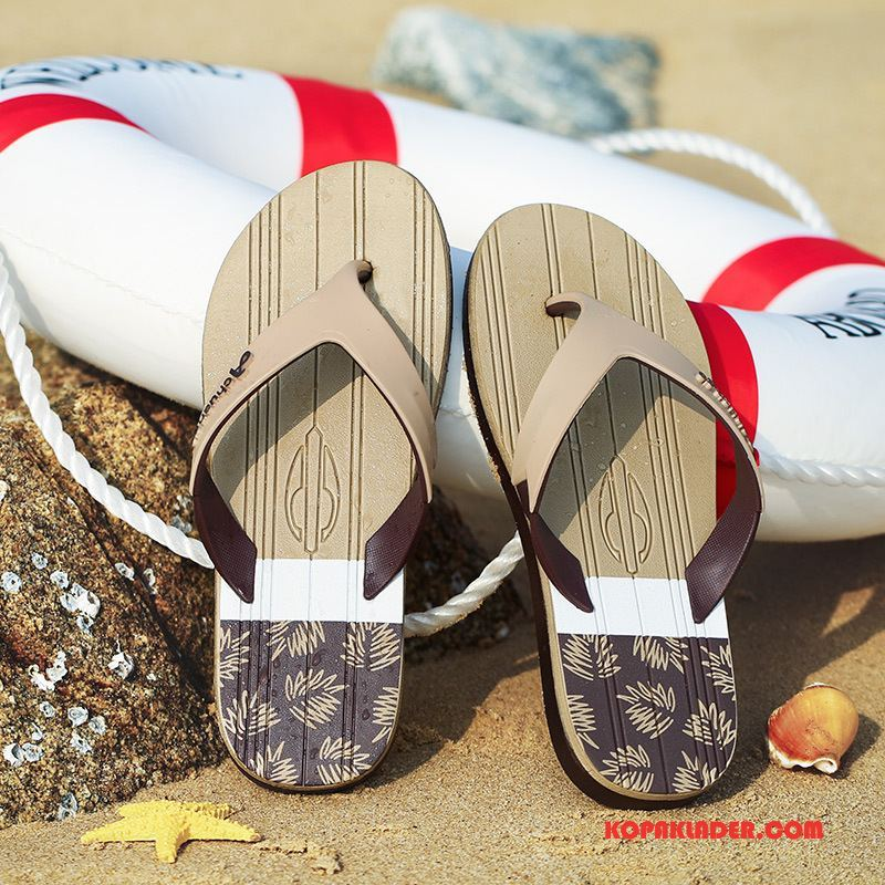 Herr Flip-flops Butik Trend Sommar Anti Friktion Stranden Flip Flops Khaki