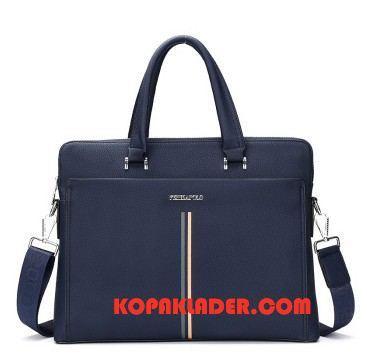 Herr Handväskor Billigt Messenger Väska Äkta Läder Ny Casual Business Blå