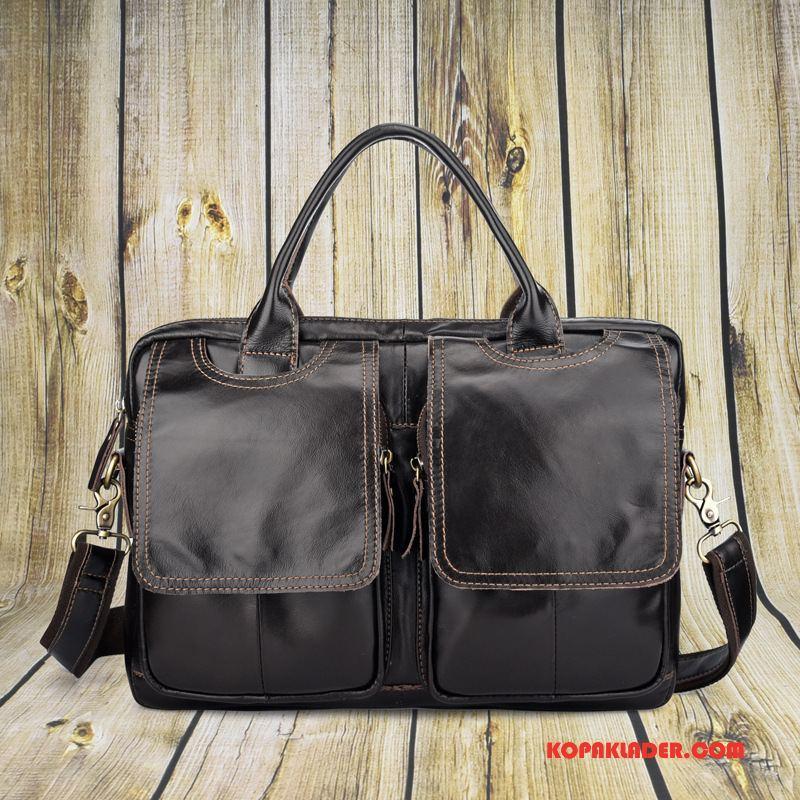 Herr Handväskor Billigt Väska Ny Handväska Messenger Väska Äkta Läder Svart