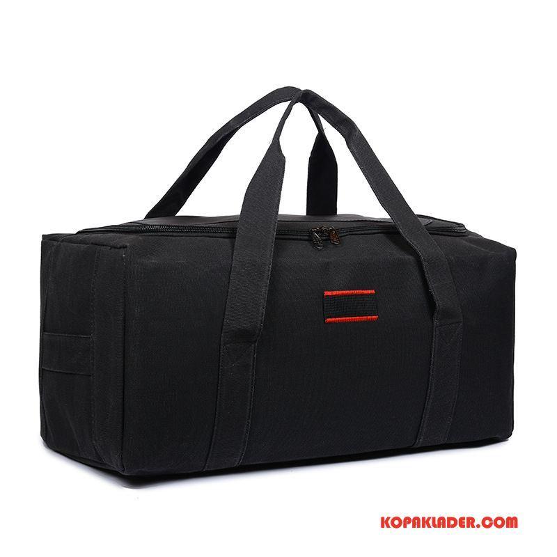 Herr Handväskor Online Förtjockning Bagage Väska Resa Målarduk Män Svart