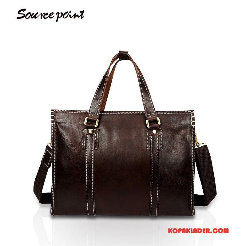 Herr Handväskor Online Läder Messenger Väska Casual Äkta Läder Business Brun