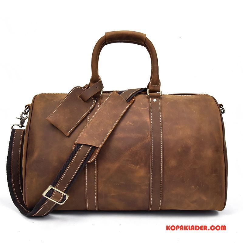 Herr Handväskor Online Resa Bagage Väska Messenger Väska Äkta Läder Handväska Brun