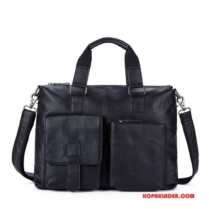Herr Handväskor Till Salu Portfölj Messenger Väska Läder Män Business Svart