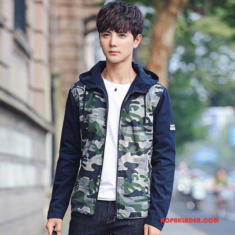 Herr Jackor Rea Student Vacker Slim Fit Med Huva Casual Camouflage Army Grön