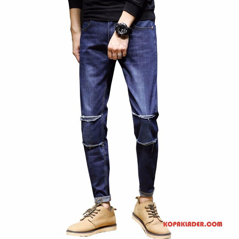 Herr Jeans Billigt Ny Liten Adolescens Trend Män Mörkblå