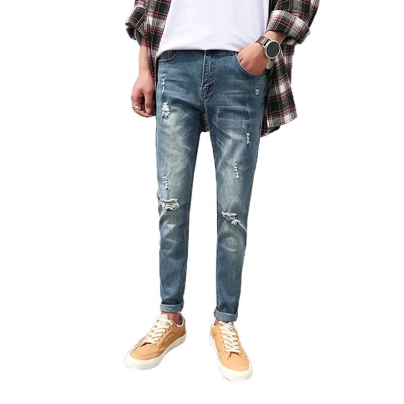 Herr Jeans Billigt Slim Fit Cigarettbyxor Män Student Hål Blå