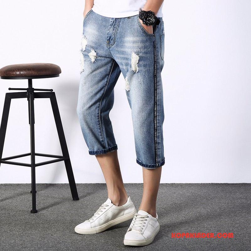Herr Jeans Köpa Capri Byxor Mode Män Hål Ny Ljusblå