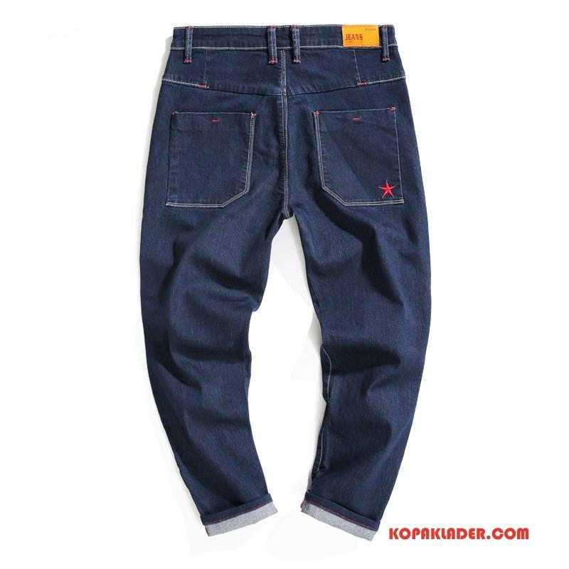 Herr Jeans Köpa Höst Mode Trend Harlan Män Mörkblå Röd