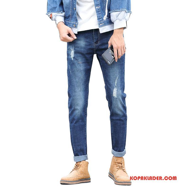 Herr Jeans Köpa Ny Adolescens Trend Slim Fit Höst Blå
