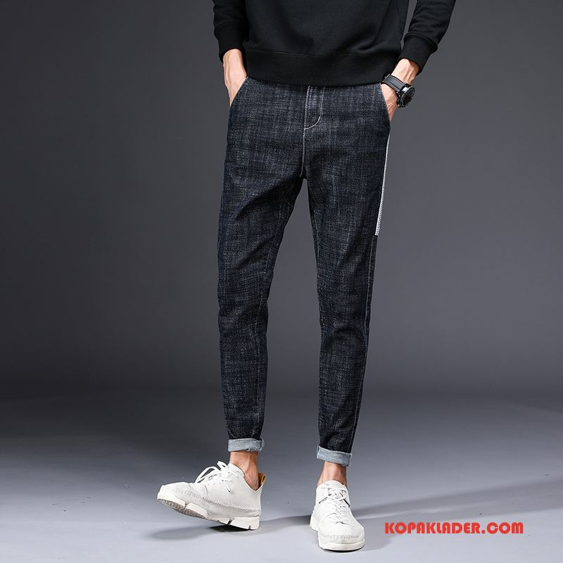 Herr Jeans Köpa Slim Fit Trend Vinter Casual Byxor Personlighet Svart