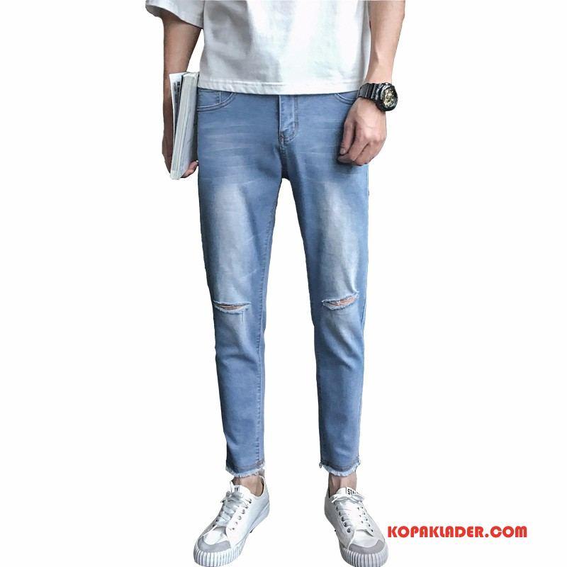 Herr Jeans På Nätet Denim Tunn Mode Hål Blå