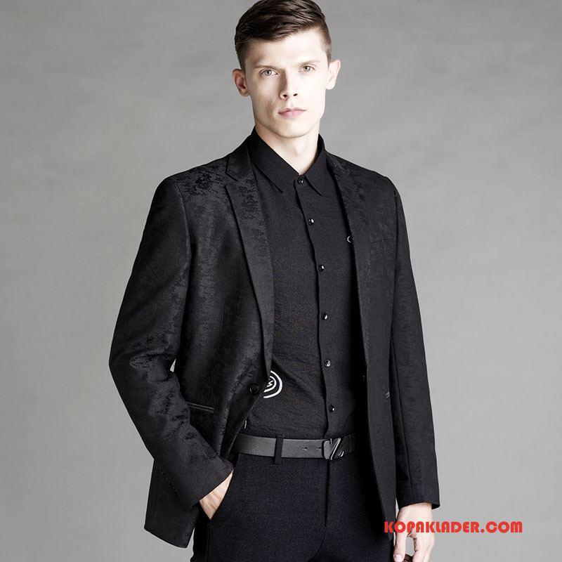 Herr Kostym Billigt Toppar Höst Kostymjacka Blazer Slim Fit Svart