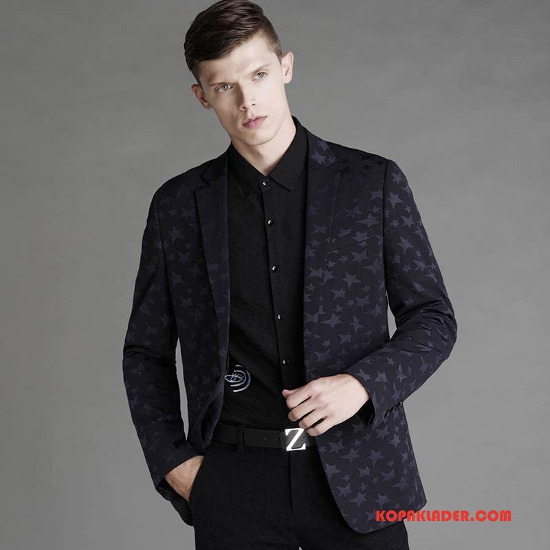 Herr Kostym Rea Mode Trend Blazer Slim Fit Casual Svart