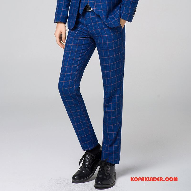 Herr Kostymbyxor Billigt Rutigt Blå