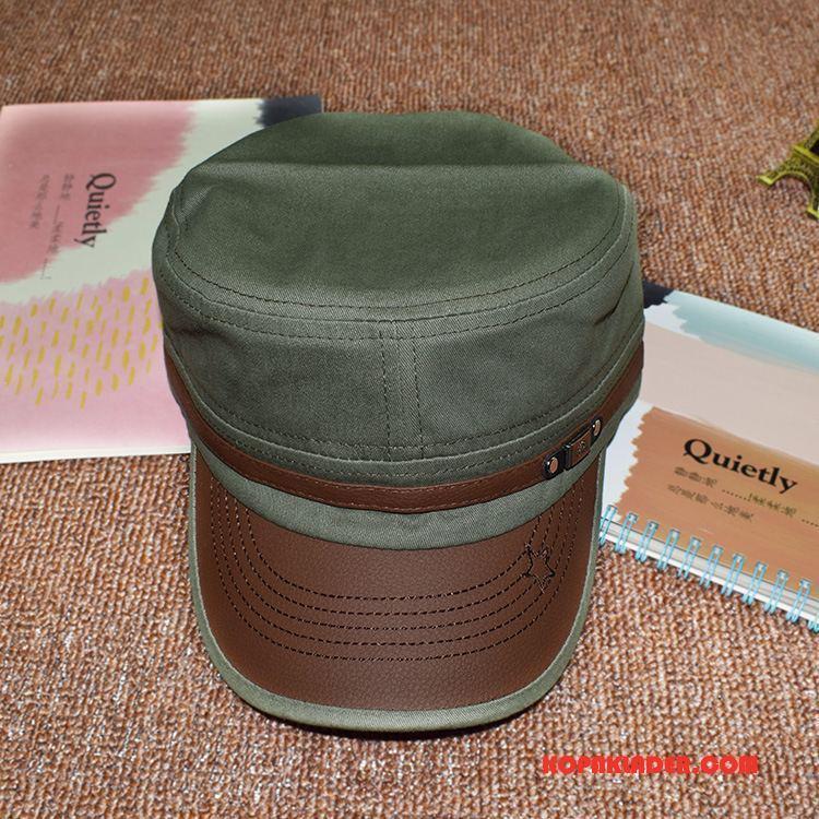Herr Mössor Hattar Online Läder Retro Män Trend Friluftsliv Army Grön