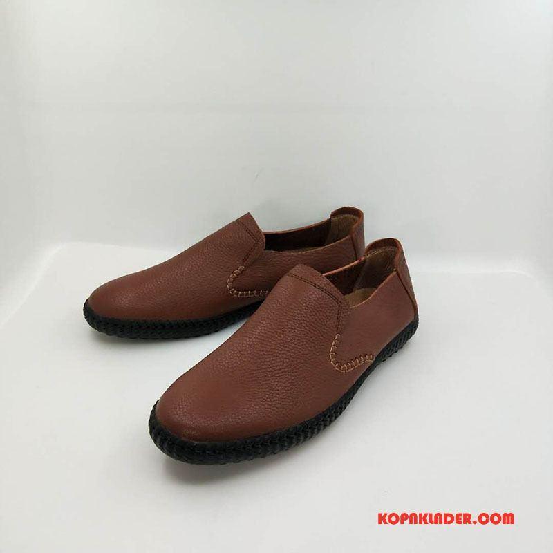 Herr Mockasiner Köpa 2018 Läderskor British Vintage Slip On Brun