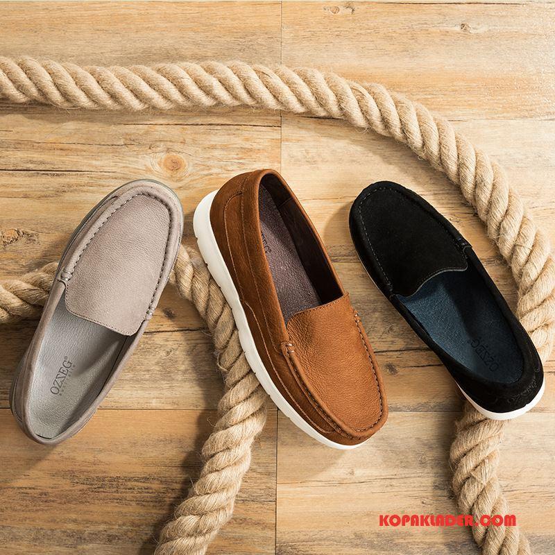 Herr Mockasiner Köpa Låga Skor British Män Läderskor Loafers Svart