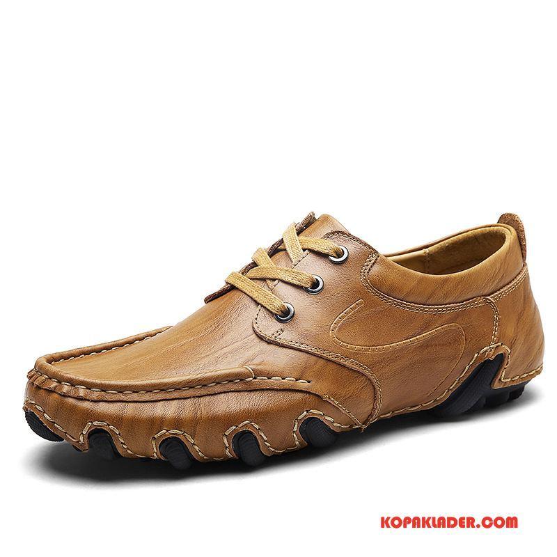 Herr Mockasiner Rea Casual Skor Läder Äkta Läder Män Khaki