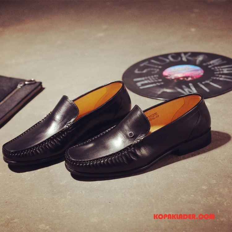 Herr Mockasiner Rea Läderskor Runda Klassisk Äkta Läder Casual Till Svart