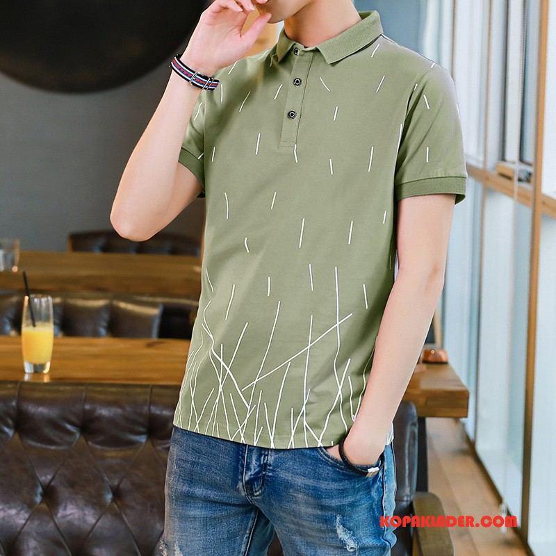Herr Pikétröja Billiga Enkel Adolescens Mode Business Bomull Grön