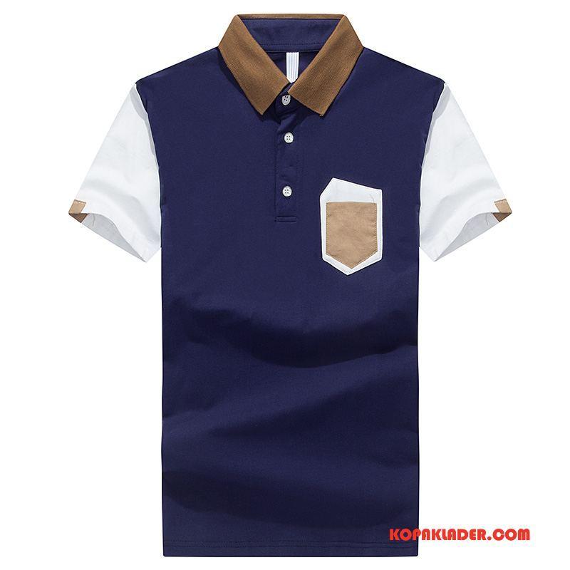 Herr Pikétröja Butik Trend Bomull T-shirt Polo Lapel Krage Mörkblå Till