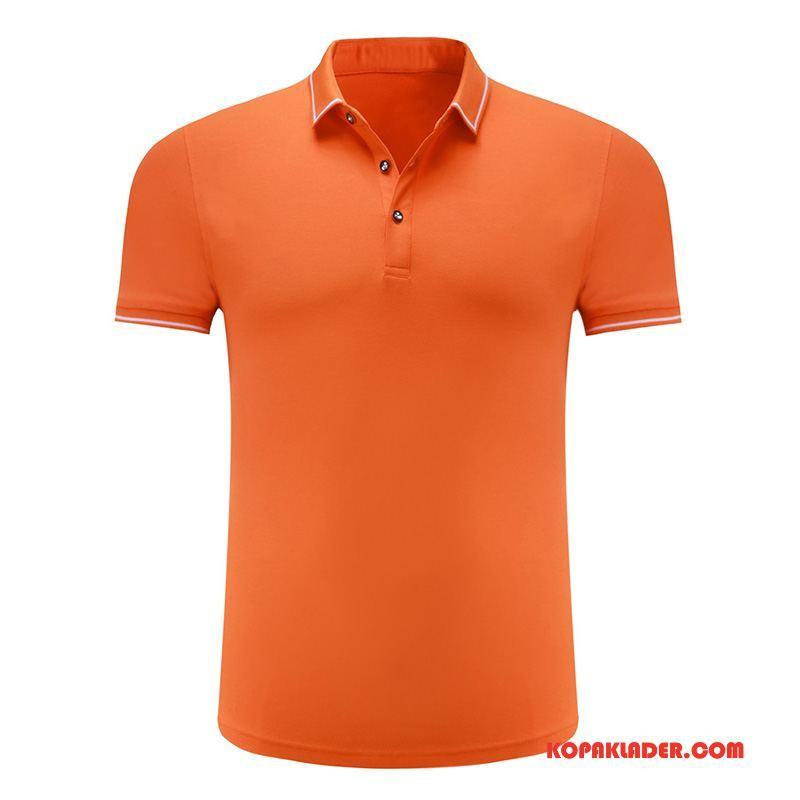 Herr Pikétröja Köpa Män Slim Fit Sommar Mode Ungdom Orange Röd