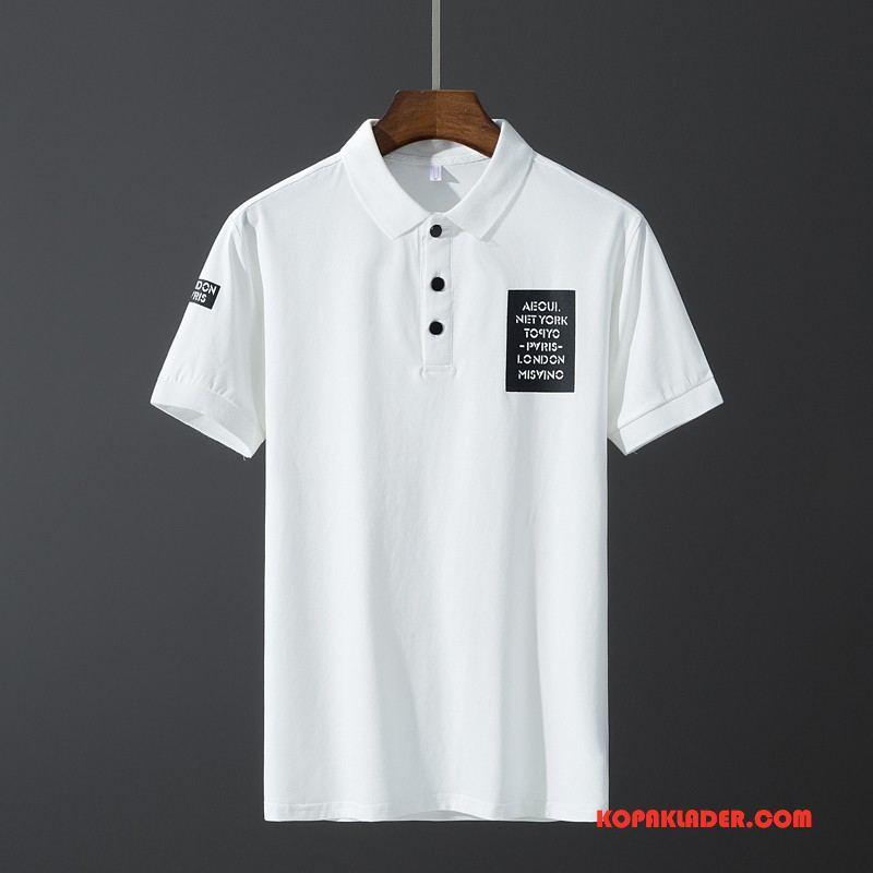 Herr Pikétröja Rea Tunn Trend Bomull T-shirt Sommar Vit