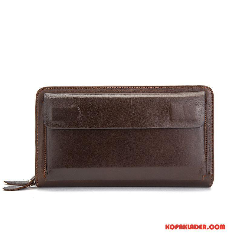 Herr Plånböcker Billig Plånbok Stor Kapacitet Kuvert Väska Läder Brun