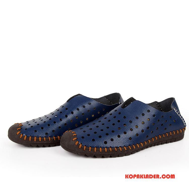 Herr Sandaler Billiga Trend Mode Skor Läderskor Män Blå