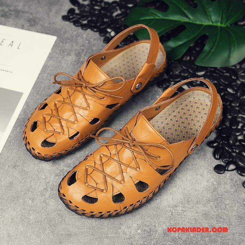 Herr Sandaler Billigt Mode Stranden Personlighet Äkta Läder Trend Gul