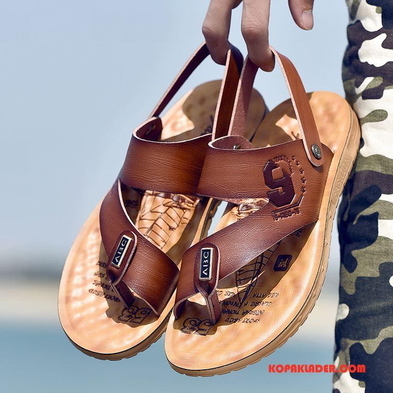 Herr Sandaler Billigt Trend Casual Sommar British Stranden Brun