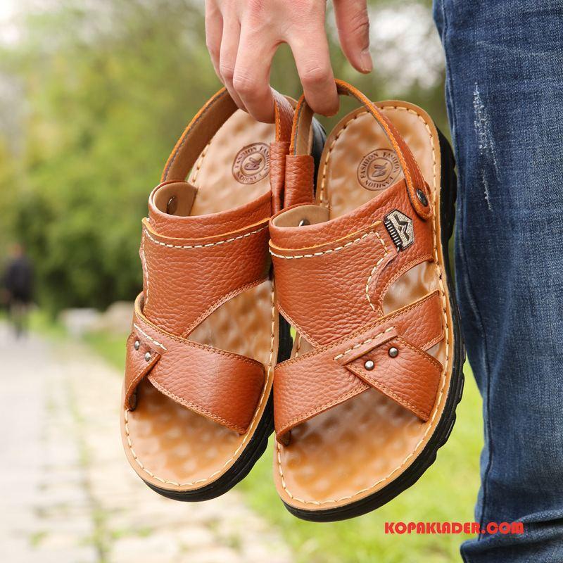 Herr Sandaler Köpa Läder Allt Matchar Casual Anti Friktion Skor Brun Gul